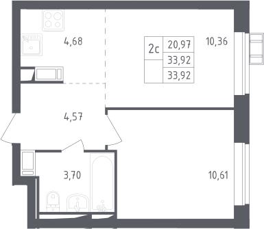 2Е-к.кв, 33.92 м², 17 этаж