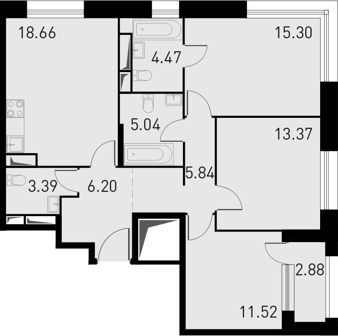 4Е-комнатная, 85.23 м²– 2