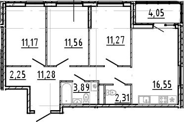 4Е-комнатная, 70.28 м²– 2