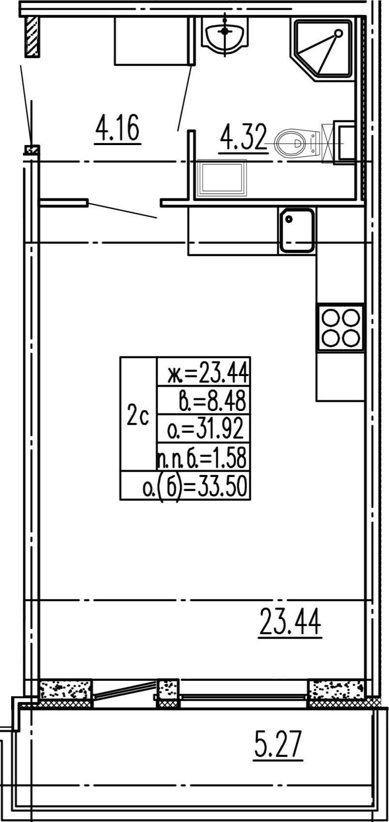 Студия, 31.92 м²– 2