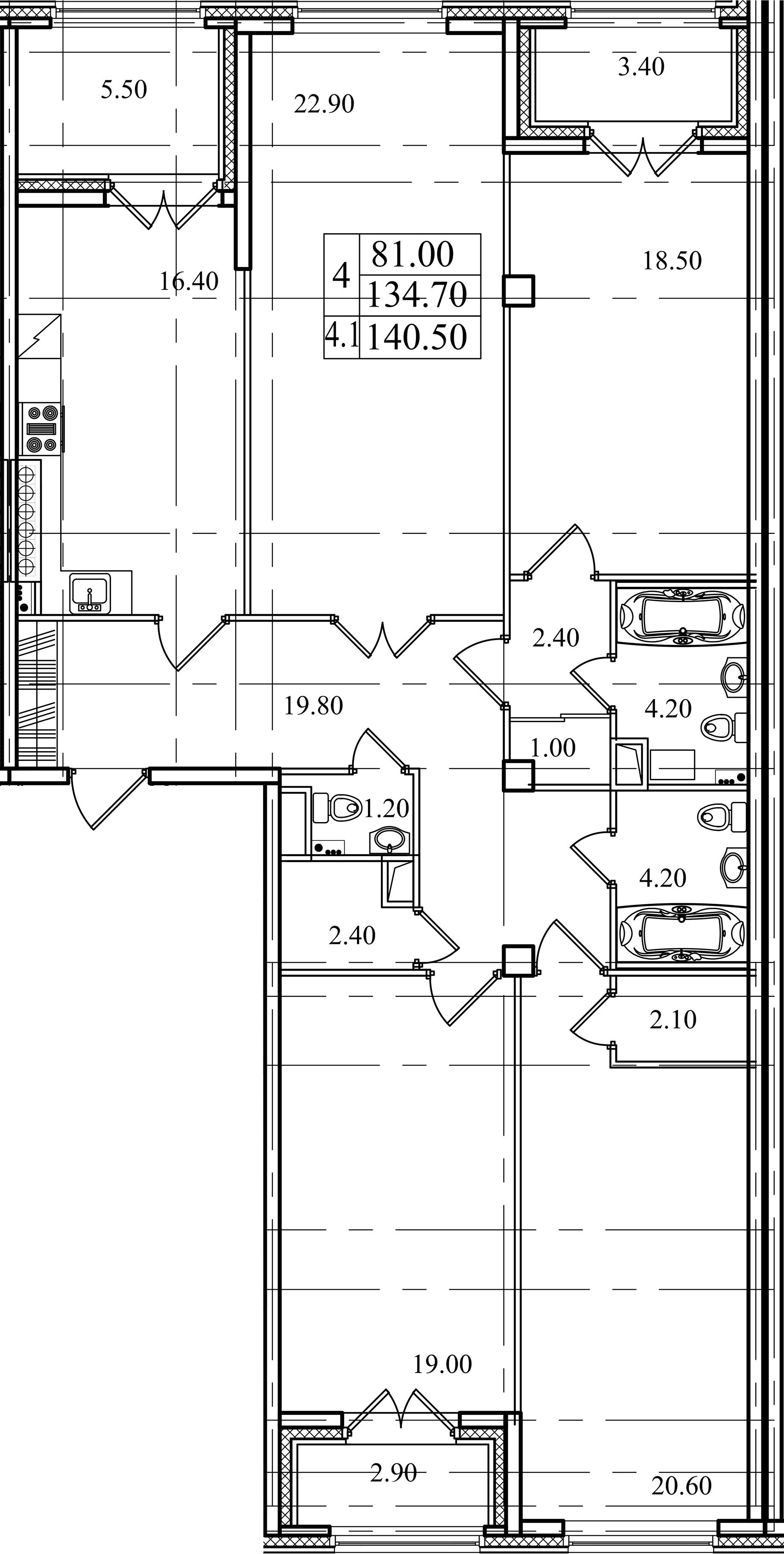 4-комнатная, 134.7 м²– 2