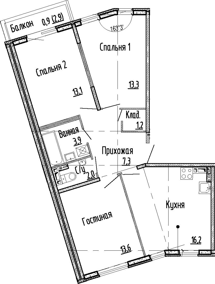 4Е-к.кв, 70.6 м², 3 этаж