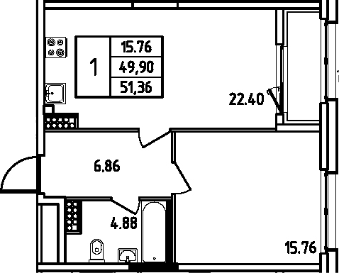 2Е-к.кв, 51.36 м², 12 этаж
