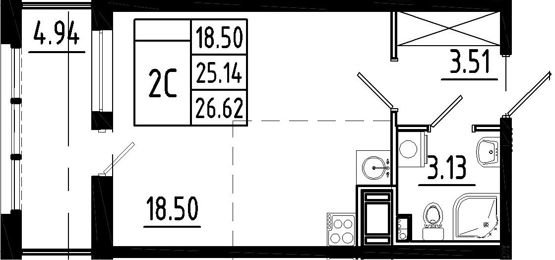 Студия, 30.08 м²