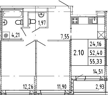 2-к.кв, 53.87 м²