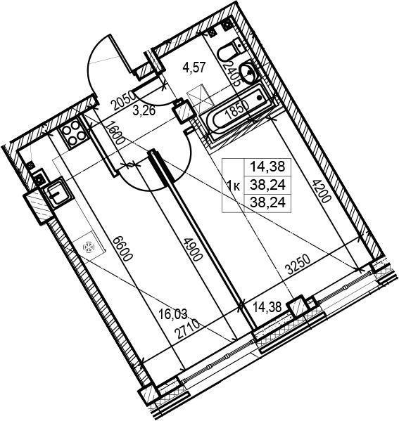 2Е-к.кв, 38.24 м², 1 этаж