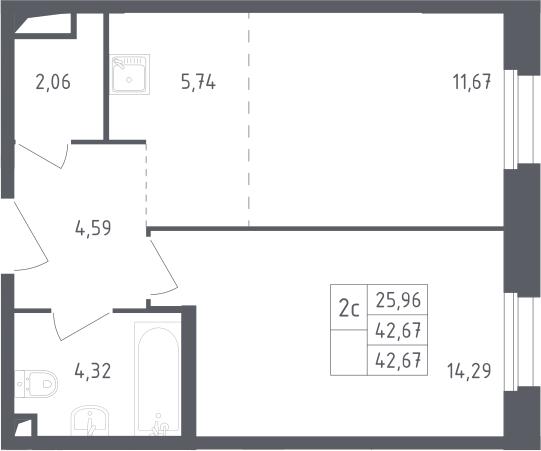 2Е-комнатная, 42.67 м²– 2