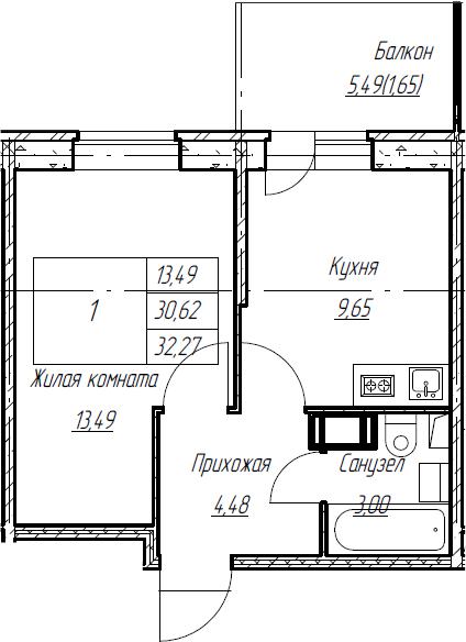 1-к.кв, 32.27 м², от 4 этажа
