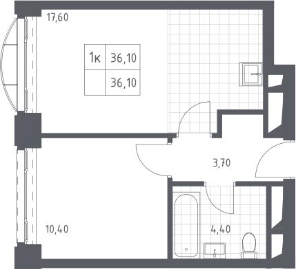 2-к.кв (евро), 36.1 м²