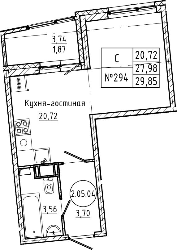 Студия, 29.85 м²– 2