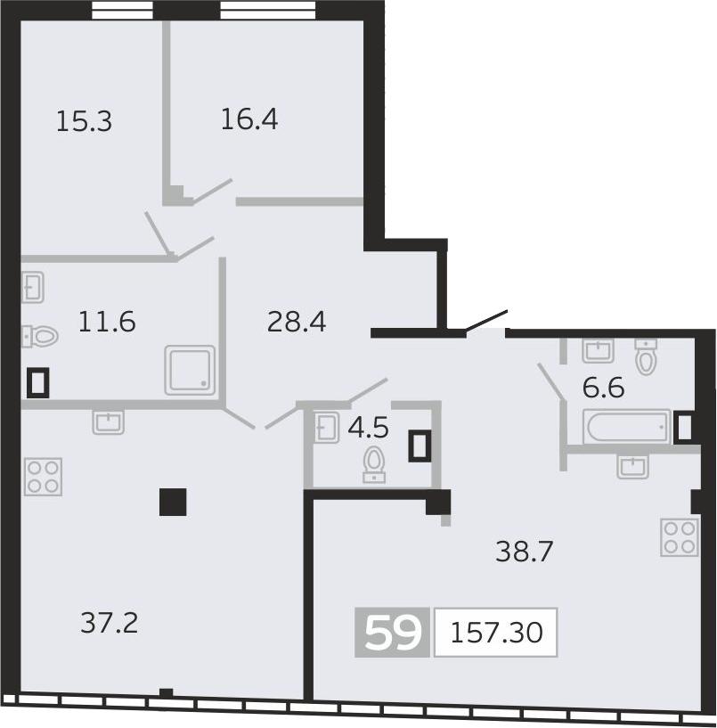 4Е-к.кв, 157.3 м², 10 этаж