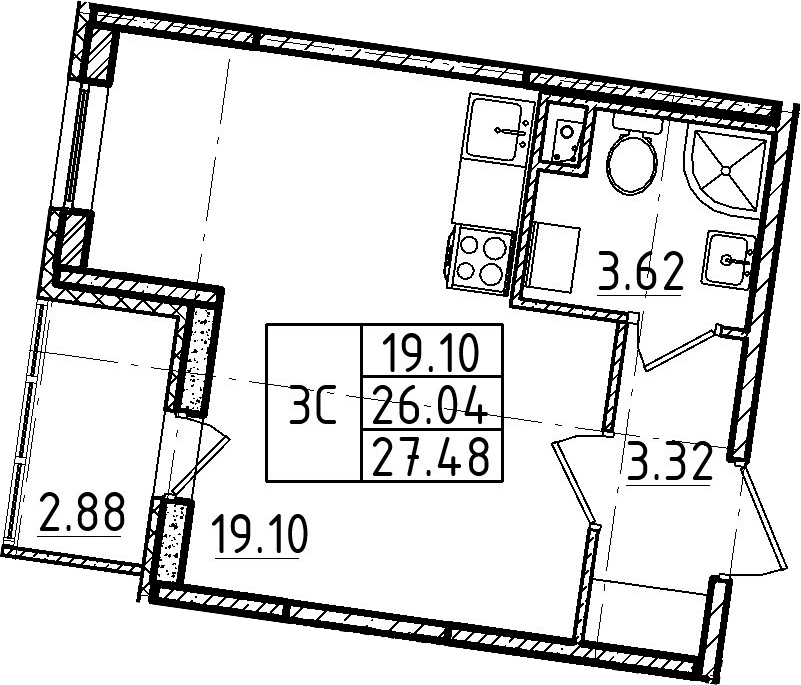 Студия, 27.48 м²