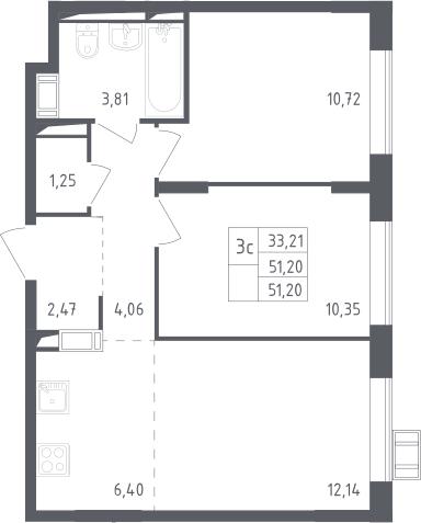 3Е-к.кв, 51.2 м²