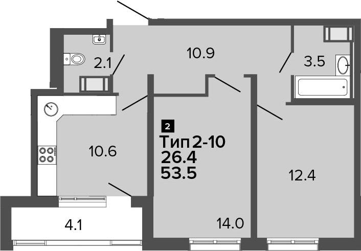 2-к.кв, 53.5 м², 9 этаж