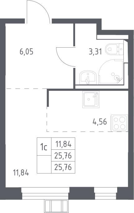 Студия, 25.76 м²– 2
