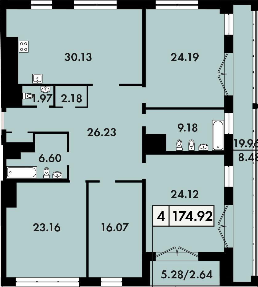 5Е-к.кв, 174.92 м²