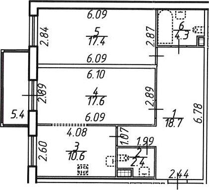 2-к.кв, 76.33 м²