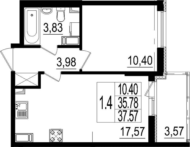 2Е-комнатная, 37.57 м²– 2