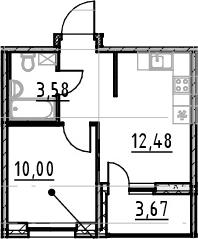 1-к.кв, 31.12 м², от 2 этажа