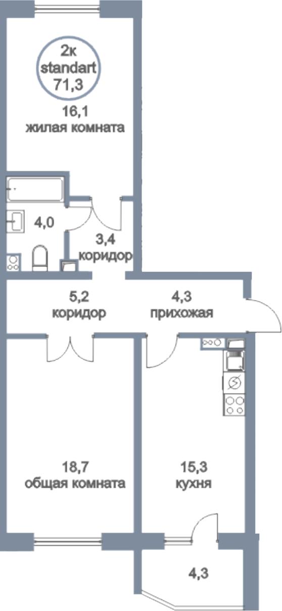 3Е-к.кв, 71.3 м², 1 этаж
