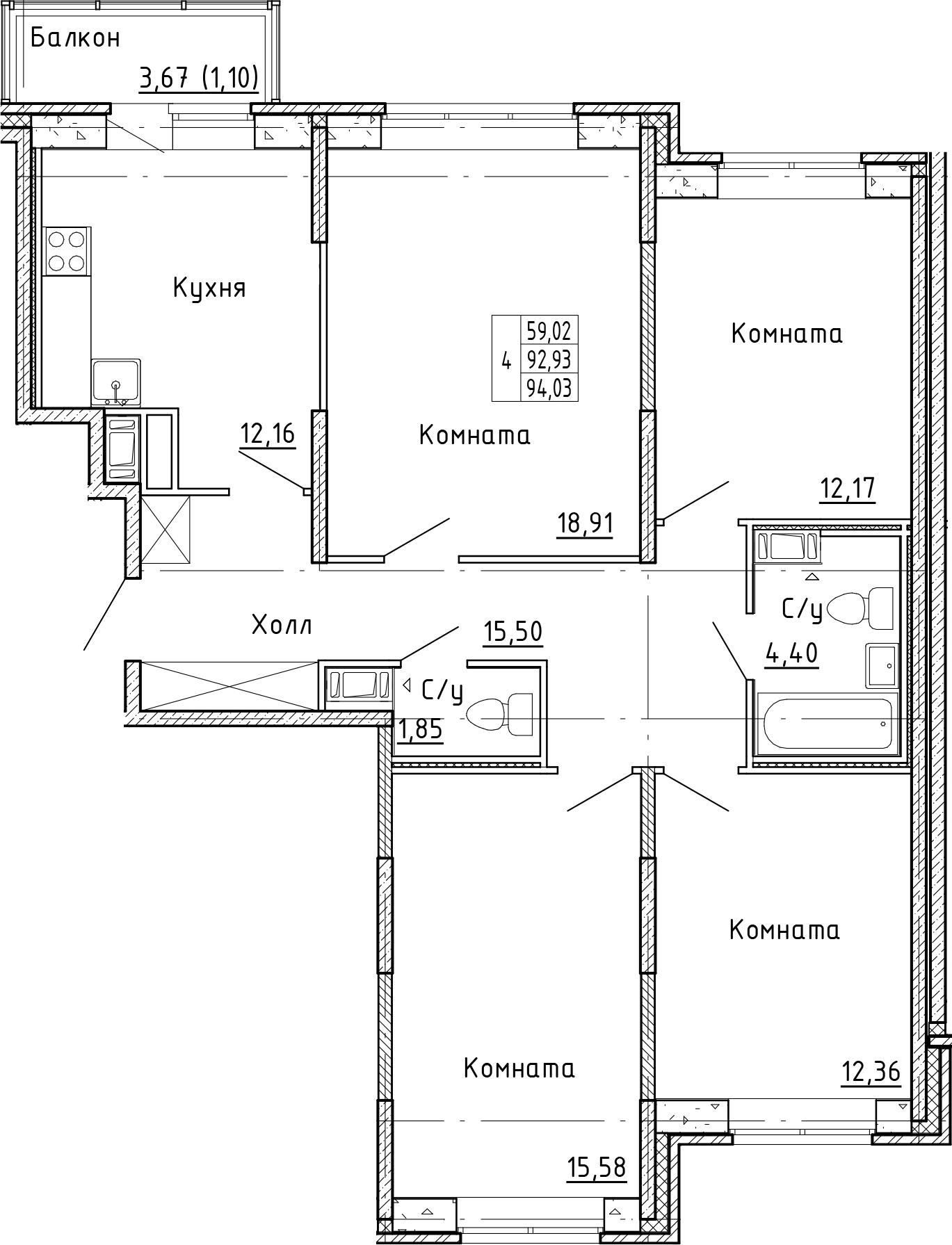 4-к.кв, 96.6 м²