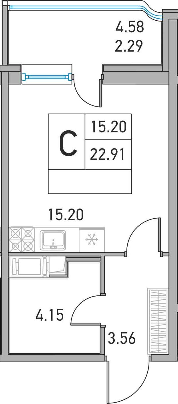 Студия, 22.91 м²– 2