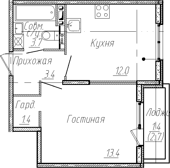 1-к.кв, 33.9 м², 4 этаж