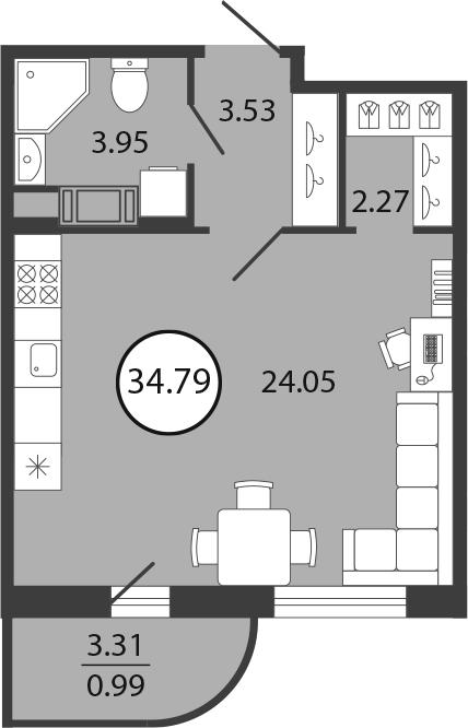 Студия, 34.79 м²