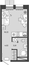 Студия, 17.75 м²