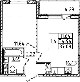 2Е-комнатная, 34.94 м²– 2