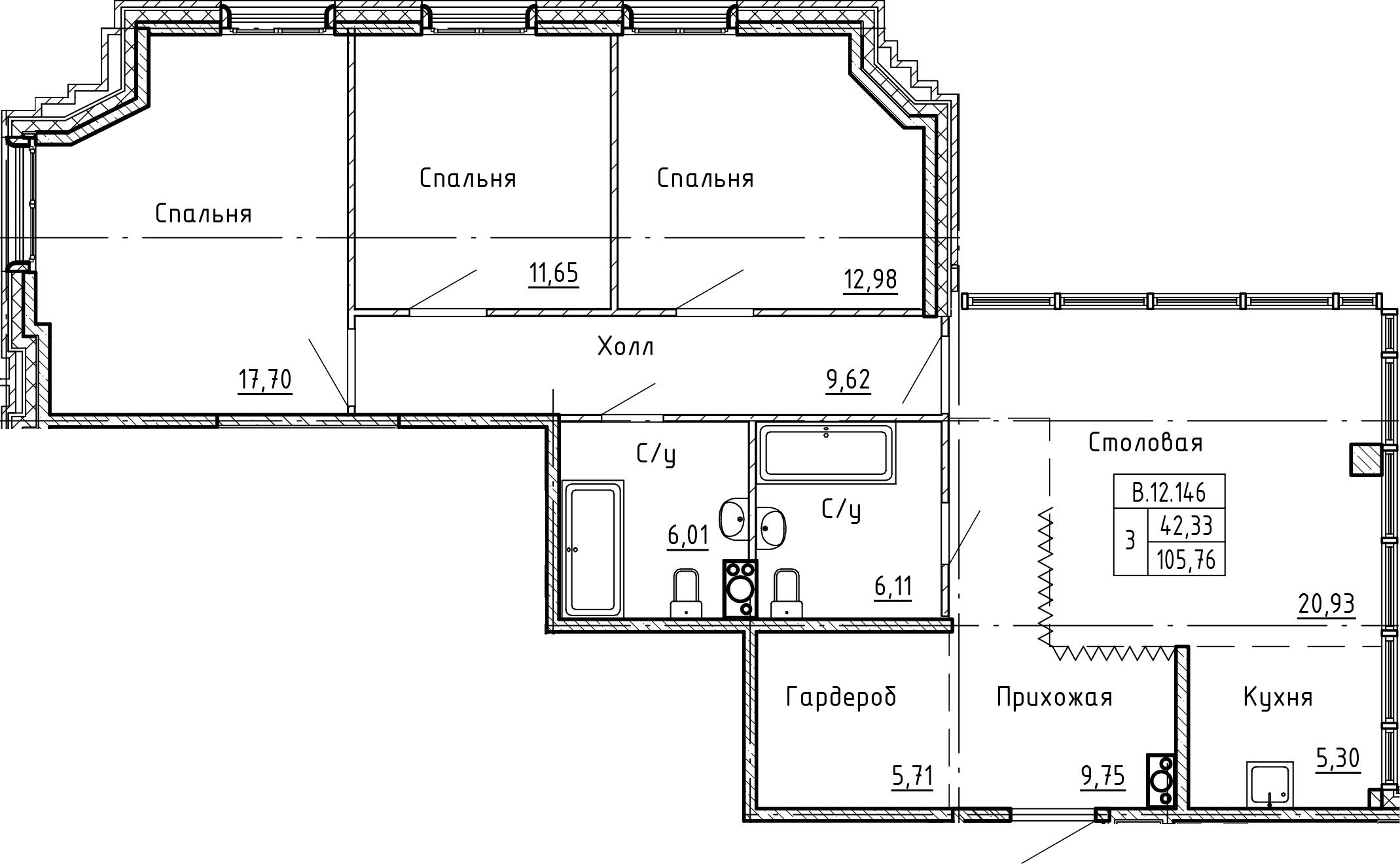 4Е-к.кв, 105.76 м²