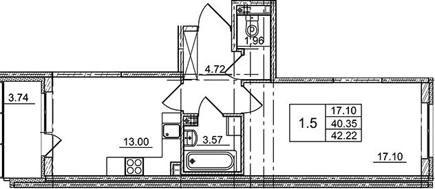 1-к.кв, 42.22 м²
