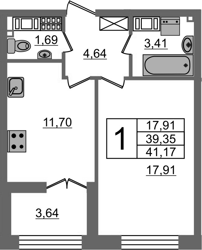1-к.кв, 42.99 м²
