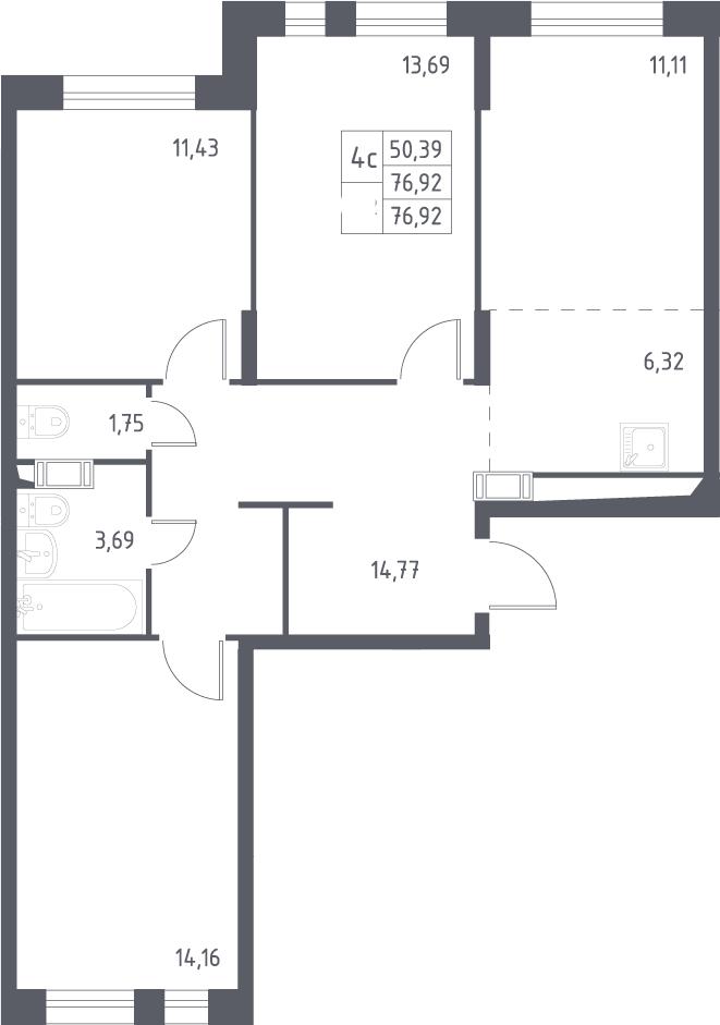 4Е-комнатная, 76.92 м²– 2