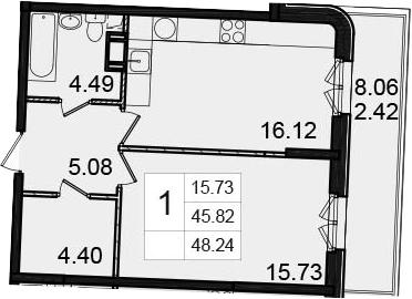 1-к.кв, 53.89 м²