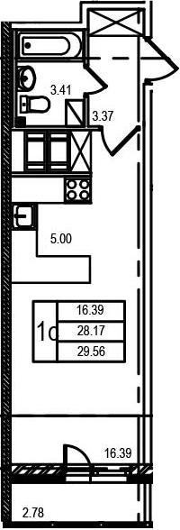 Студия, 30.98 м²