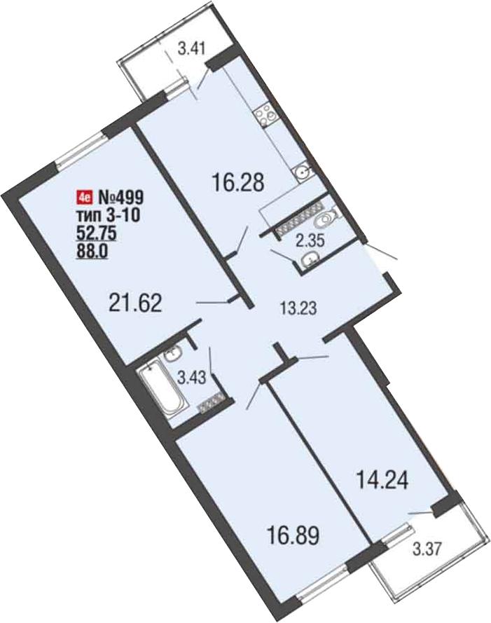 4Е-комнатная, 88.3 м²– 2