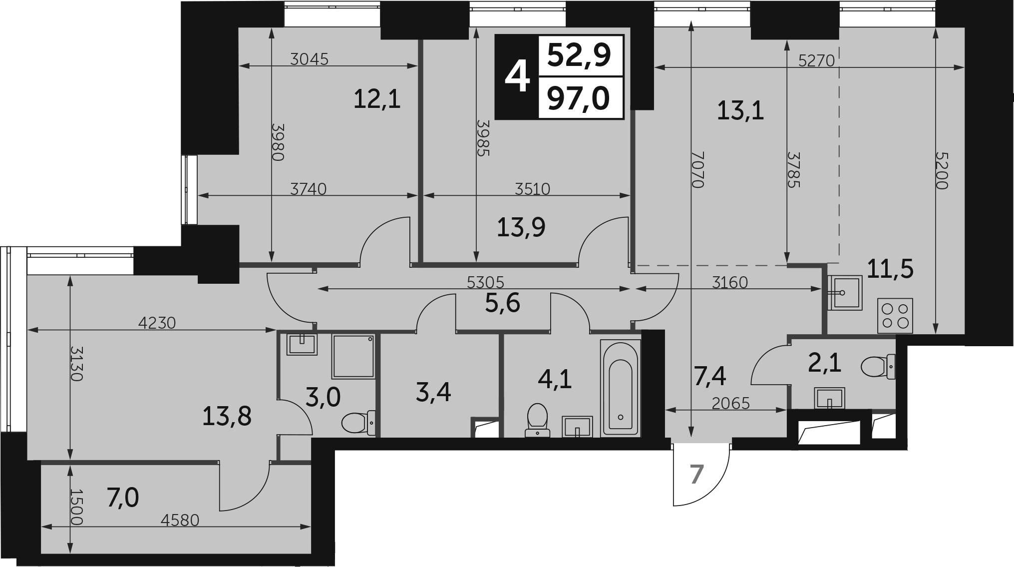 4-к.кв, 97 м²