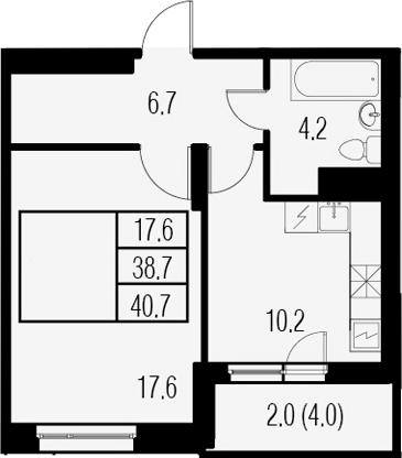 1-к.кв, 42.7 м²