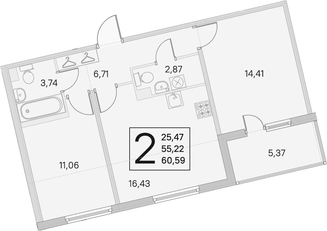 3Е-к.кв, 55.22 м², 1 этаж