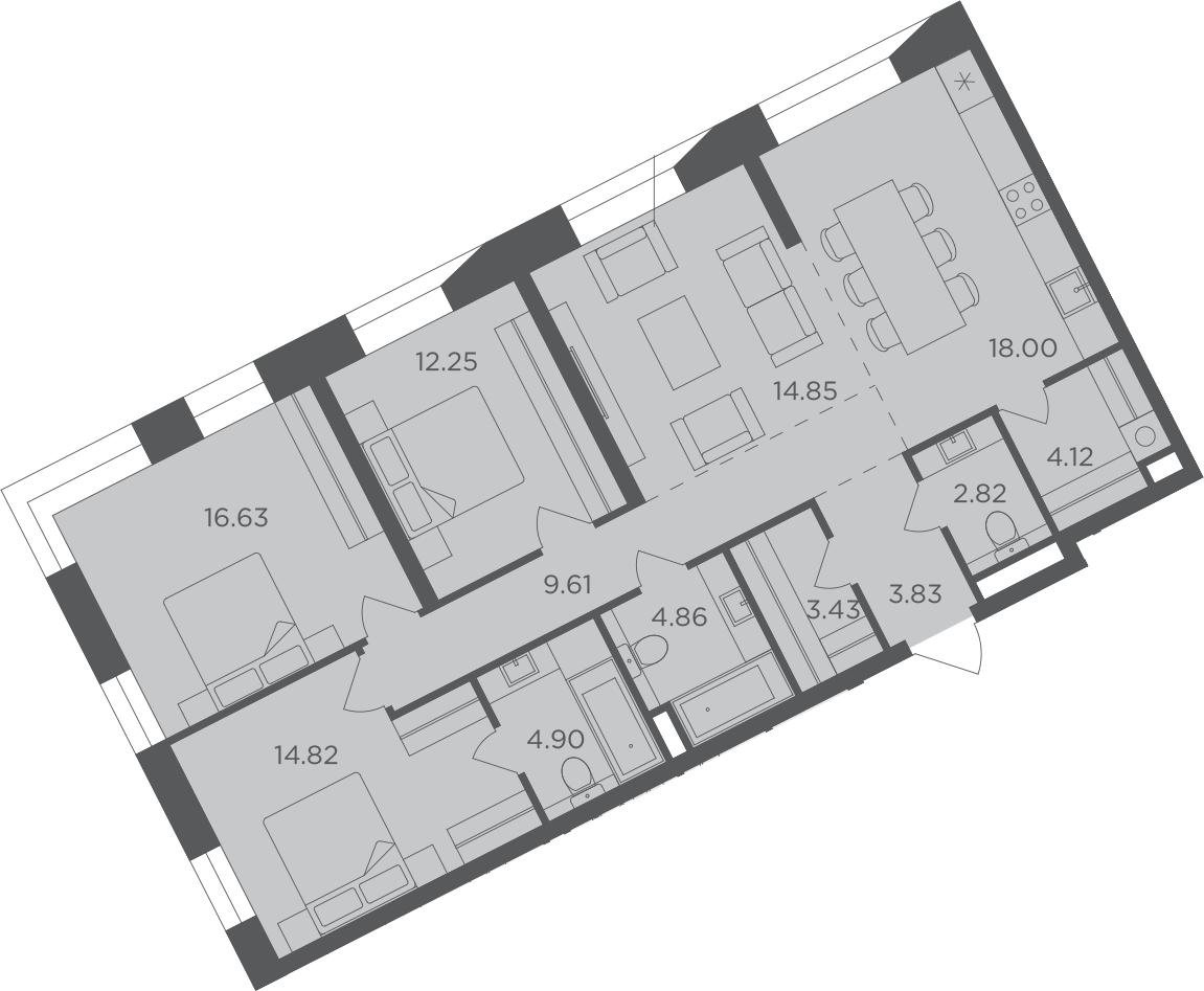 4-к.кв, 110.12 м²