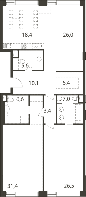 4-к.кв (евро), 142.57 м²