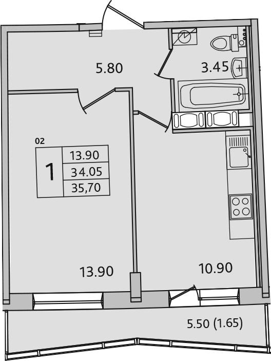 1-комнатная, 35.7 м²– 2