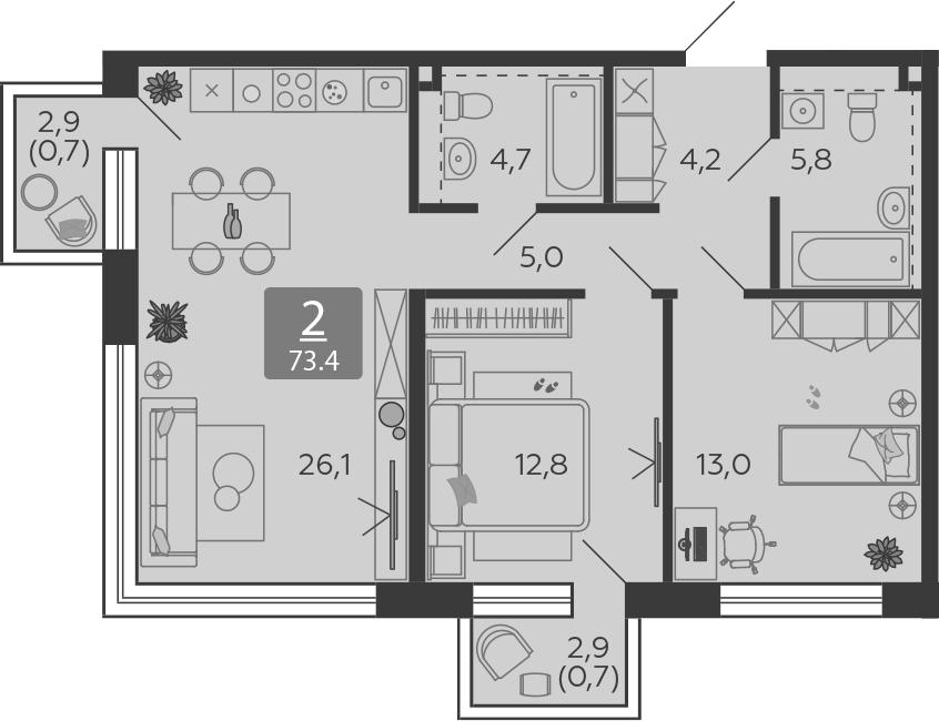 3Е-комнатная, 73.4 м²– 2
