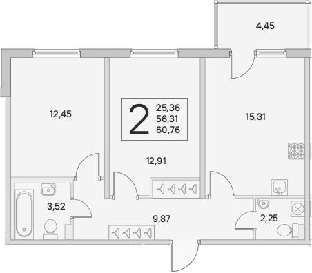 3Е-комнатная, 60.76 м²– 2
