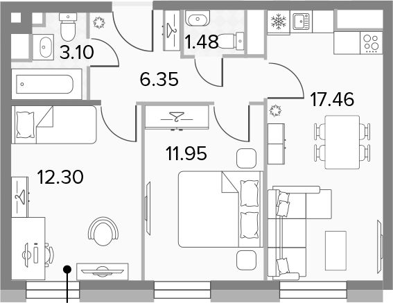 3Е-к.кв, 52.64 м², 11 этаж
