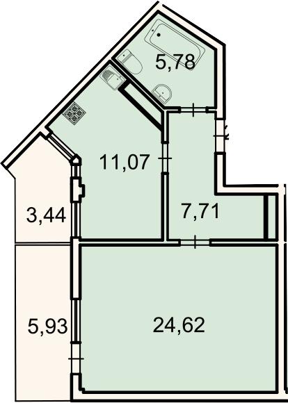 1-комнатная, 52.6 м²– 2