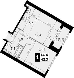 1-комнатная, 43.2 м²– 2