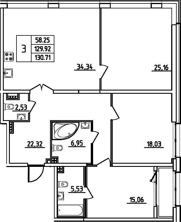 4Е-к.кв, 130.71 м²