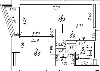 2Е-комнатная, 50.9 м²– 2